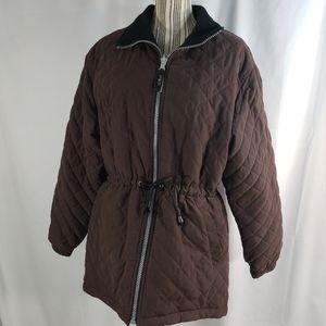 NY& Co Brown Quilted Coat Size Medium
